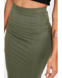 Missguided - Green Khaki Jersey Midi Skirt - Lyst
