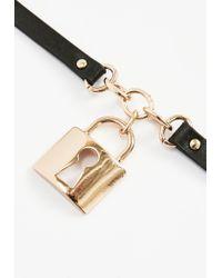 Missguided - Black Padlock Choker Necklace - Lyst