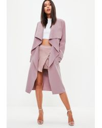 5ae1d177d8364d Lyst - Missguided Mauve Oversized Waterfall Duster Coat in Purple