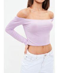 Missguided Purple Long Sleeve Bardot Crop Top