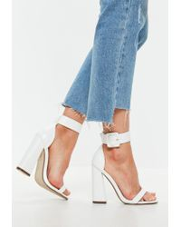 Missguided White Buckle Barely There Flared Heels