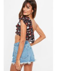 Missguided Black Floral Print Ruffle Crop Top