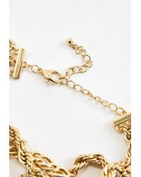 Missguided - Metallic Gold Twisted Chain Charm Choker Necklace - Lyst