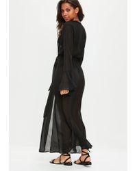 Missguided Black Chiffon Maxi Kimono
