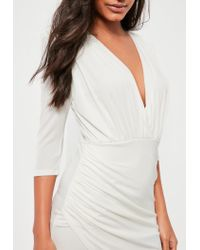 Missguided White Slinky Wrap Asymmetric Dress