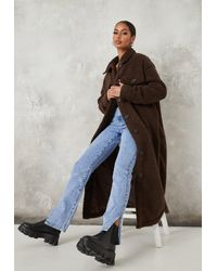 Missguided Brown Chocolate Long Borg Shacket Coat