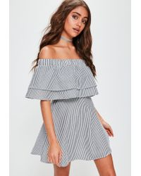 Missguided Gray Grey Stripe Ruffle Layer Bardot Swing Dress
