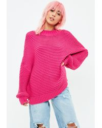 Missguided - Pink Knitted Drop Shoulder Jumper - Lyst