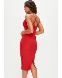 Missguided Red Cut Out Plunge Midi Dress