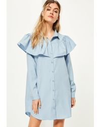 Missguided | Blue Yoke Ruffle Detail Pinstripe Shirt Dress | Lyst