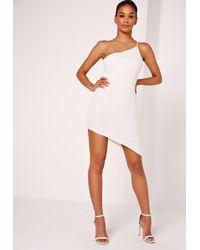 Missguided Asymmetric One Shoulder Bodycon Dress White