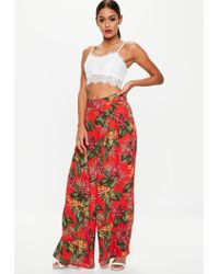 Missguided Red Tropical Wide Leg Pants