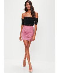 Missguided - Purple Faux Suede Split Side Mini Skirt - Lyst