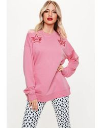 31a590803 Missguided Pink Baby Girl Star Embroidered Sweatshirt in Pink - Lyst