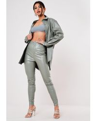 Missguided Green Mock Croc Faux Leather Trousers