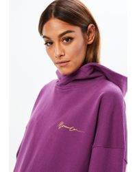 Missguided Mennace X Purple Boxy Overhead Signature Hoodie