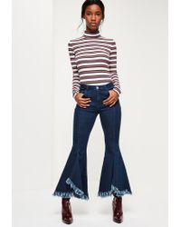 Missguided | Blue Mid-rise Extreme Flare Skinny Jeans | Lyst