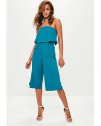 58c234d2501 Missguided Green Bandeau Double Layer Jumpsuit in Green - Lyst