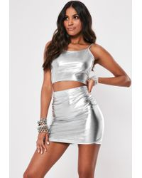 Missguided Silver Metallic Cami Crop Top And Mini Skirt Co Ord Set