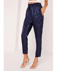 Missguided Blue Satin Cigarette Trousers Navy