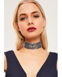 Missguided - Gray Grey Jewelled Velvet Choker Necklace - Lyst