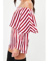 Missguided White Striped Bardot Romper
