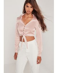 Missguided Multicolor Button Front Satin Tie Crop Blouse Pink
