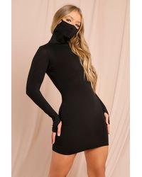 MissPap Black Mask Bodycon Mini Dress
