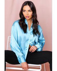 MissPap Blue Satin Balloon Sleeve Oversized Shirt