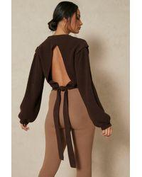 MissPap Brown Cut Out Tie Back Detail Jumper