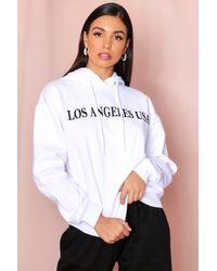 MissPap White Los Angeles Slogan Hooded Sweatshirt