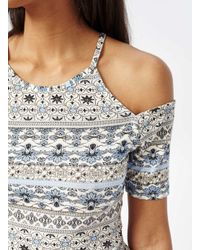 Miss Selfridge - Blue Print Cold Shoulder Top - Lyst