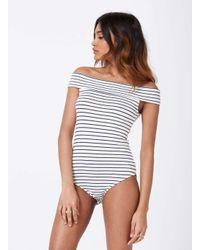 Miss Selfridge - White Petite Stripe Bardot Body - Lyst