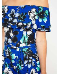 Miss Selfridge   Blue Print Bardot Playsuit   Lyst