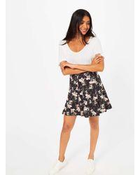 Miss Selfridge - Black Floral Skater Skirt - Lyst