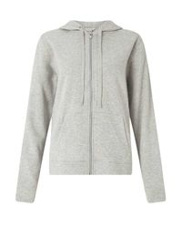 Miss Selfridge - Gray Grey Zip Through Hoodie - Lyst