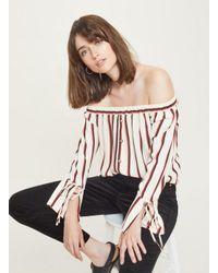 a79458b6d79457 Lyst - Miss Selfridge Stripe Button Tie Sleeve Bardot Top in White