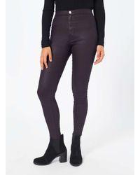 Miss Selfridge Blue Steffi Burgundy Coated Jeans