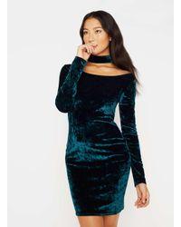 Miss Selfridge - Green Velvet Choker Dress - Lyst