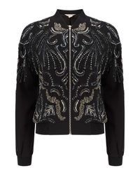 Miss Selfridge - Black Premium Embellished Bomber Jacket - Lyst