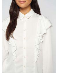 Miss Selfridge White Ivory 3/4 Sleeve Ruffle Top