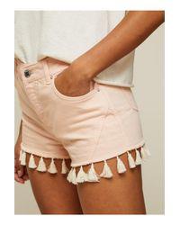 Miss Selfridge Pink Tassel Hem Shorts