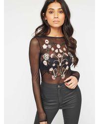 5fd036b482465a Miss Selfridge Black Embroidered Mesh Body in Black - Lyst