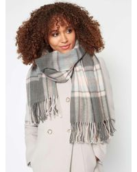Miss Selfridge Gray Grey And Pink Checked Scarf