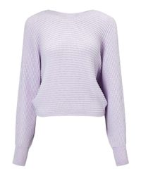 Miss Selfridge Purple Lilac Slouchy Ribbed Knitted Jumper