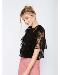 Miss Selfridge | Black Lace Ruffle Blouse | Lyst