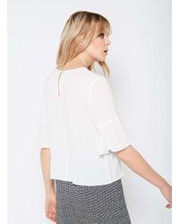 Miss Selfridge - White Ivory Ruffle Front T-shirt - Lyst