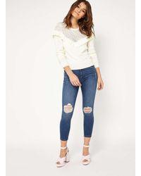 Miss Selfridge Black Petite Lizzie Busted Knee Jeans