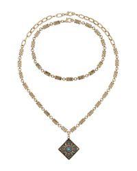 Miss Selfridge | Metallic Aztec Gold Necklace | Lyst