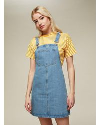 Miss Selfridge - Blue Bleach Wash Pinafore Dress - Lyst